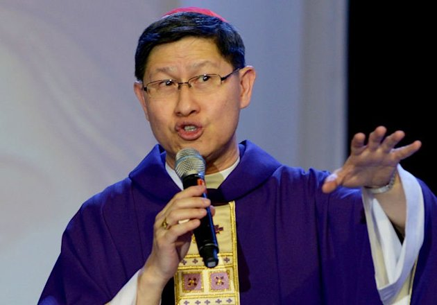 The Archbishop of Manila Cardinal Luis Antonio Tagle gives a mass to the faithful at a Catholic gathering in Manila on February 16, 2013. The priority given by Asian Catholics to &quot;quality of faith&quot; over quantity of faithful can help the Church, a Philippine cardinal seen as a candidate to succeed Pope Benedict XVI said