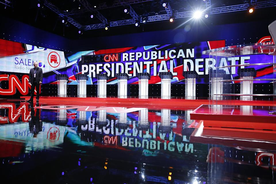 Podium before GOP Debate Las Vegas