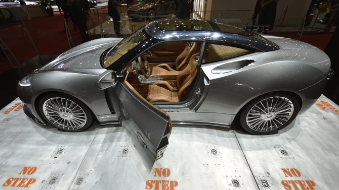 The new Spyker B6 Venator Concept is shown during the press day at the 83rd Geneva International Motor Show in Geneva, Switzerland, Wednesday, March 6, 2013. The Motor Show will open its gates to the public from March 7th to 17th, presenting more than 260 exhibitors and more than 130 world and European premieres. (AP Photo/Keystone, Martial Trezzini)