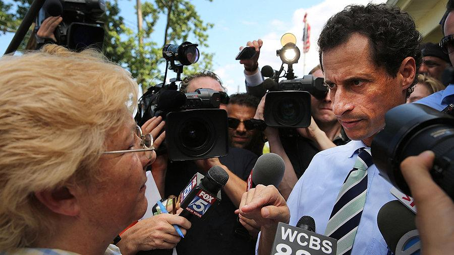 He's Still in the Race! Watch a Voter Confront Anthony Weiner on the Campaign Trail