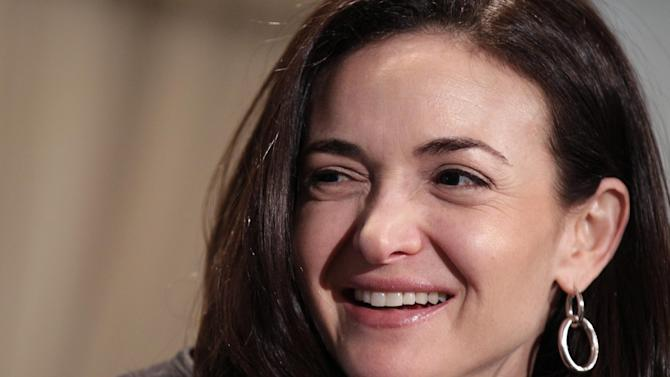 FILE - In this Thursday, April 7, 2011, file photo, Sheryl Sandberg, Facebook's chief operating officer, speaks at a luncheon for the American Society of News Editors in San Diego. (AP Photo/Gregory Bull, File)