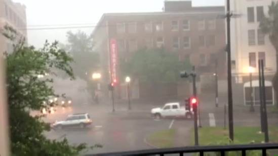 Raw Video: Heavy rains pour across Central Businesss District