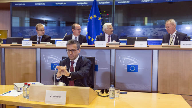 European Union Commissioner-designate for Research, Science and Innovation Carlos Moedas of Portugal speaks during the European Parliament's Committee on Industry, Research and Energy, at the European Parliament in Brussels on Tuesday, Sept. 30, 2014. (AP Photo/Thierry Monasse)