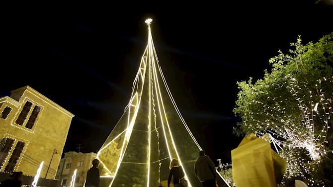 A Christmas tree is pictured in Byblos, north of Beirut