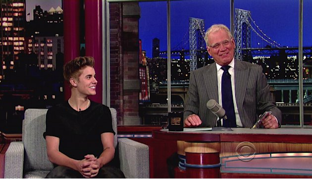 Justin Bieberpromotes his new album 'Believe' and mentions the new tattoo he got on his arm, which Letterman objected to, during an appearance on CBS's 'Late Show With David Letterman&