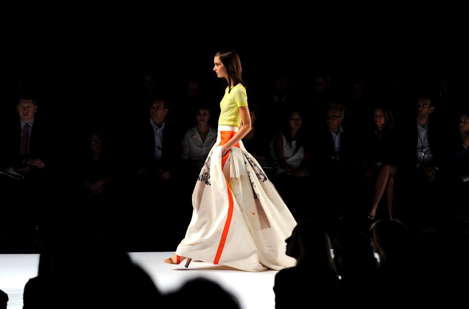 A model walks the runway during the Carolina Herrera spring 2013 show, Monday, Sept. 10, 2012, during Fashion Week in New York. (Photo by Diane Bondareff/Invision/AP)