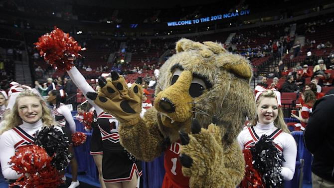 The Davidson mascot cheers before an NCAA tournament second-round college basketball game against Louisville in Portland, Ore., Thursday, March 15, 2012. (AP Photo/Rick Bowmer)