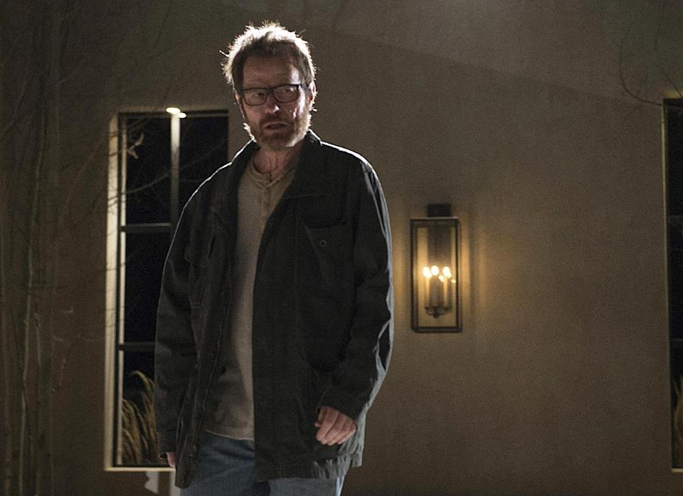 "This image released by AMC shows Bryan Cranston as Walter White in a scene from the series finale of ""Breaking Bad, airing Sunday, Sept. 29, 2013. (AP Photo/AMC, Ursula Coyote)"