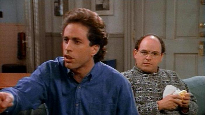 """The Outing"" - When an eavesdropping college reporter mistakenly prints that Jerry and his pal George are intimate longtime companions, Jerry vainly works overtime to prove his straightness. And when the big-city newspapers pick up the story, Jerry has a lot of explaining to do to his overwrought parents. Seinfeld"