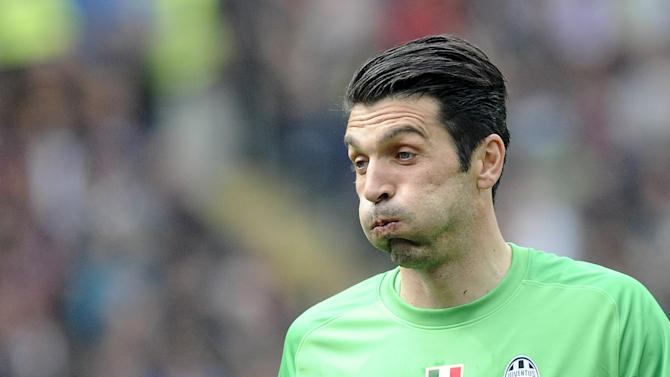 Juventus' goalkeeper Buffon reacts during their Italian Serie A soccer match against Torino in Turin