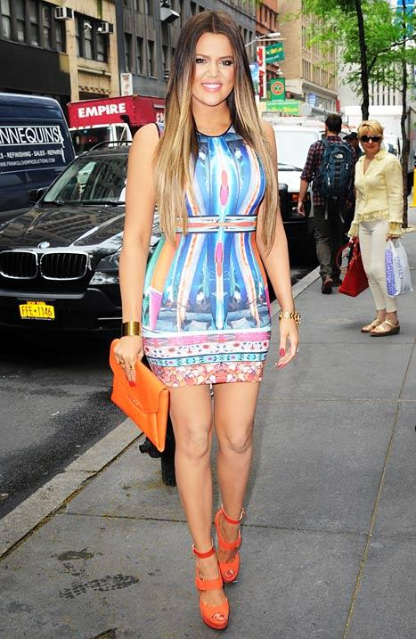 Khloe Kardashian Shows Off Skinny Body, Weight Loss in Colorful Figure-Hugging Dress: Pictures