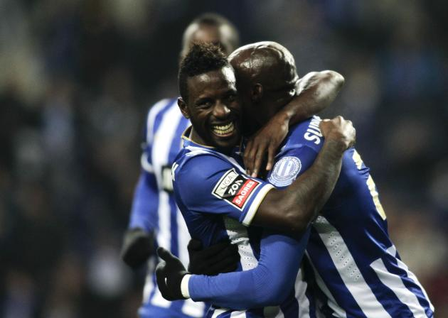 Porto's Mangala celebrates his goal against Olhanense with his teammate Varela during their Portuguese Premier League soccer match at Dragao stadium in Porto