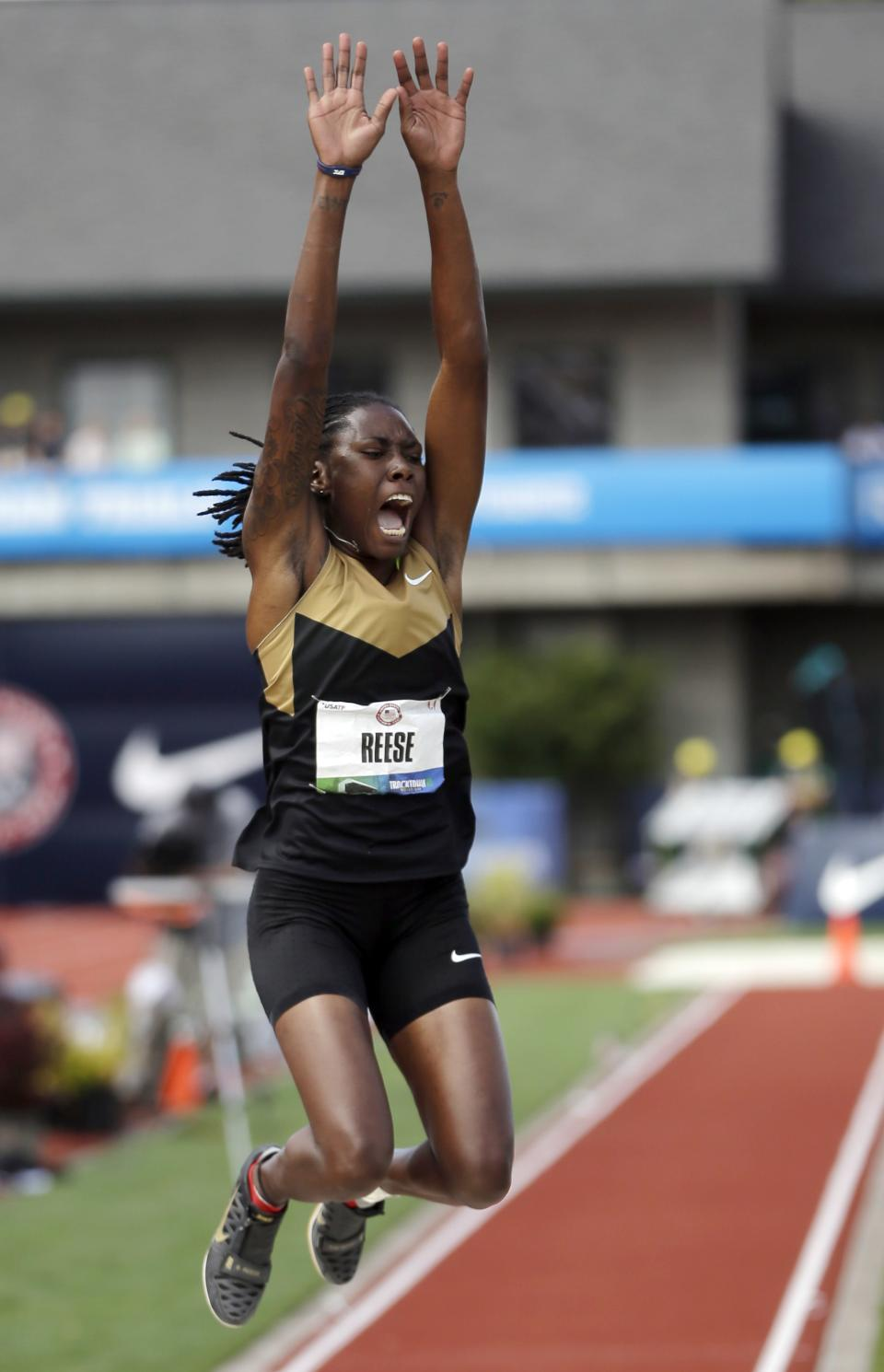 Brittney Reese competes in the women's long jump final at the U.S. Olympic Track and Field Trials Sunday, July 1, 2012, in Eugene, Ore. Reese came in first and made the Olympic team. (AP Photo/Matt Slocum)
