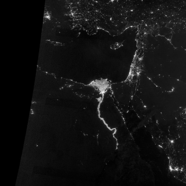 A NASA Earth Observatory image shows the area near the Nile River valley and Delta on the night of October 13, 2012