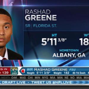 Jacksonville Jaguars pick wide receiver Rashad Greene No. 139 in 2015 NFL Draft