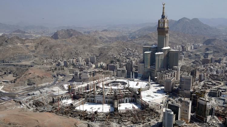 An aerial view shows the Clock Tower and the Grand Mosque in the holy city of Mecca, on October 16, 2013