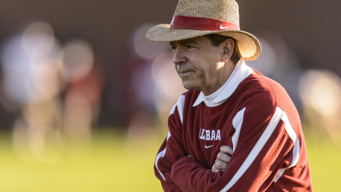Alabama coach Nick Saban watches his team's practice, Tuesday, Dec. 18, 2012, in Tuscaloosa, Ala. The team began preparations for the BCS National Championship college football game against Notre Dame on Jan. 7 in Miami. (AP Photo/AL.com, Vasha Hunt) MAGS OUT