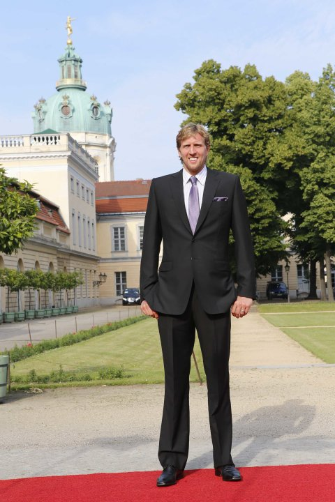 Dallas Mavericks' Dirk Nowitzki arrives for a dinner at Charlottenburg Castle in Berlin