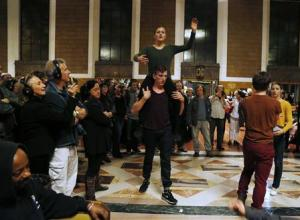 "Members of the L.A. Dance Project perform the opera ""Invisible Cities"" at the Amtrak's Union Station in Los Angeles"