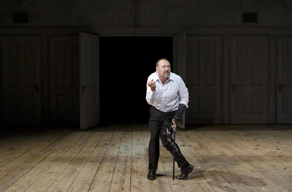 "In this theater image released by Boneau/Bryan-Brown, Kevin Spacey is shown in a scene from ""Richard III,"" performing at the Brooklyn Academy of Music in New York. (AP Photo/Boneau/Bryan-Brown, Joan Marcus)"