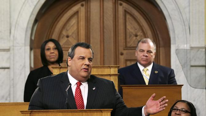 New Jersey Senate President Stephen M. Sweeney, second right, D-Thorofare,N.J., and Assembly Speaker Sheila Y. Oliver, left, D-East Orange, N.J., listen as Gov. Chris Christie delivers his State Of The State address at the Statehouse, Tuesday, Jan. 8, 2013, in Trenton, N.J.  (AP Photo/Mel Evans)