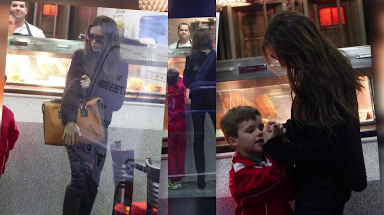 Victoria Beckham Treats Son Cruz to Fish and Chips in London