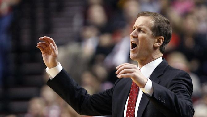 Portland Trail Blazers coach Terry Stotts reacts to a call during the first quarter of the Blazers' NBA basketball game against the Los Angeles Lakers in Portland, Ore., Wednesday, Oct. 31, 2012. (AP Photo/Don Ryan)