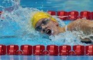 Australia's Jacqueline Freney competes in the women's 400m freestyle S7 swimming final during the London 2012 Paralympic Games at the Olympic Park Aquatics Centre in east London. Freney won gold