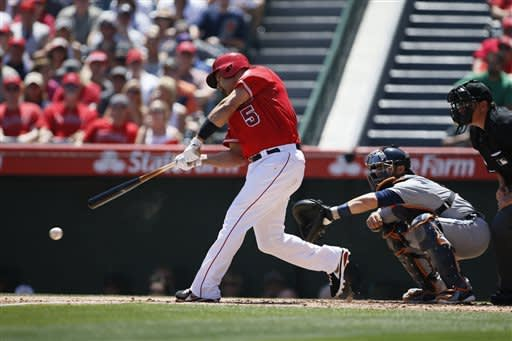 Trout's 1st slam helps Angels beat Tigers