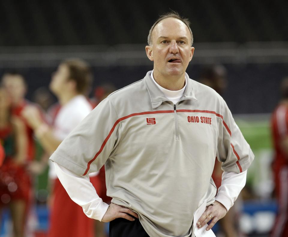 Ohio State head coach Thad Matta walks watches his team during a practice session for the NCAA Final Four basketball tournament Friday, March 30, 2012, in New Orleans. Ohio State plays Kansas in a semifinal game on Saturday. (AP Photo/David J. Phillip)