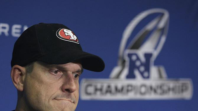 San Francisco 49ers head coach Jim Harbaugh speaks at a news conference after the NFC Championship NFL football game against the New York Giants Sunday, Jan. 22, 2012, in San Francisco. The Giants won 20-17 in overtime to advance to Super Bowl XLVI. (AP Photo/Paul Sakuma)