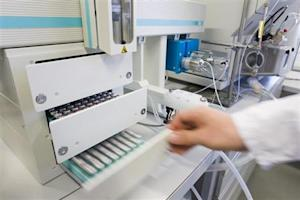 A technician prepares urine sample for testing at the Swiss Laboratory for Doping Analysis in Epalinges near Lausanne.