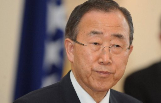 "Secretary General of the UN Ban Ki-moon addresses the press in Sarajevo. Ban on Wednesday urged the world ""to stop the slaughter in Syria"" as dozens of international observers pulled out from the country"