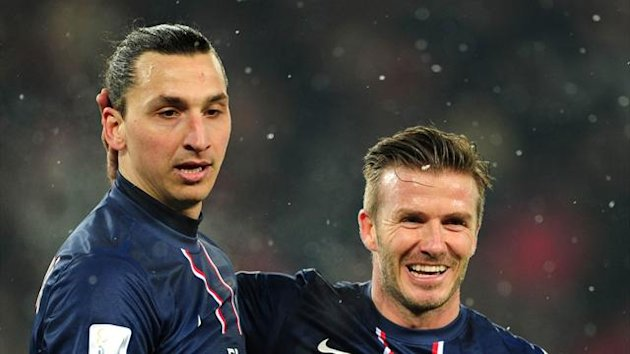 David Beckham, right, had a hand in Zlatan Ibrahimovic's, left, goal on his PSG debut