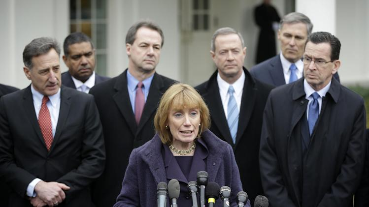 New Hampshire Gov. Maggie Hassan, center, accompanied by fellow members of the Democratic Governors Associations, speaks outside the White House in Washington, Friday, Feb. 22, 2013, following their meeting with President Barack Obama and Vice President Joe Biden. From left are, Vermont Gov. Peter Shumlin, Virgin Islands Gov. John De Jongh, Montana Gov. Steve Bullock, Hassan, Maryland Gov. Martin O'Malley, Washington Gov. Jay Inslee and Connecticut Gov. Dan Malloy.  (AP Photo/Pablo Martinez Monsivais)