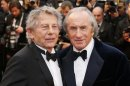 "Director Roman Polanski and former Formula One champion driver Jackie Stewart arrives for the screening of the film ""All is Lost"" during the 66th Cannes Film Festival"