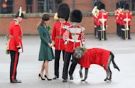 Think St Patrick's Day, think the Emerald Isle, so how fitting that the Duchess of Cambridge choose a gorgeous green coat dress for today's Irish Guards' parade
