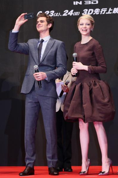 Actor Andrew Garfield and actress Emma Stone attend the world Premiere of 'The Amazing Spider-Man' at Roppongi Hills on June 13, 2012 in Tokyo, Japan. The film will open on June 30 in Japan. (Photo by