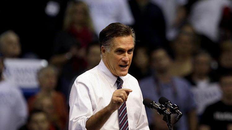 Republican presidential candidate, former Massachusetts Gov. Mitt Romney speaks at a campaign event at the Verizon Wireless Arena, Monday, Nov. 5, 2012, in Manchester, N.H. (AP Photo/David Goldman)