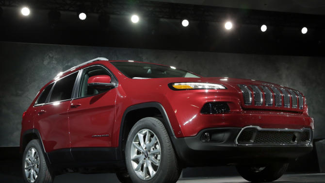 FILE - This March 27, 2013 file photo shows the 2014 Jeep Cherokee Limited at the New York International Auto Show. (AP Photo/Richard Drew, File)
