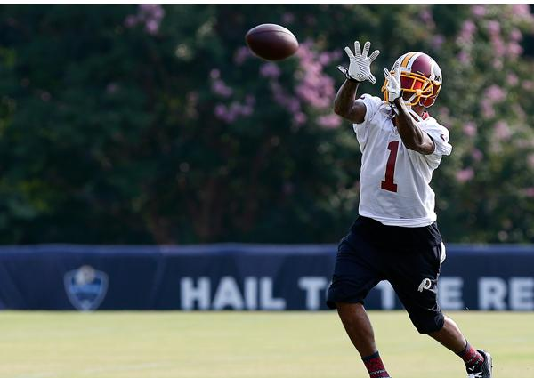 Redskins' Jackson at practice but Sunday status up in the air