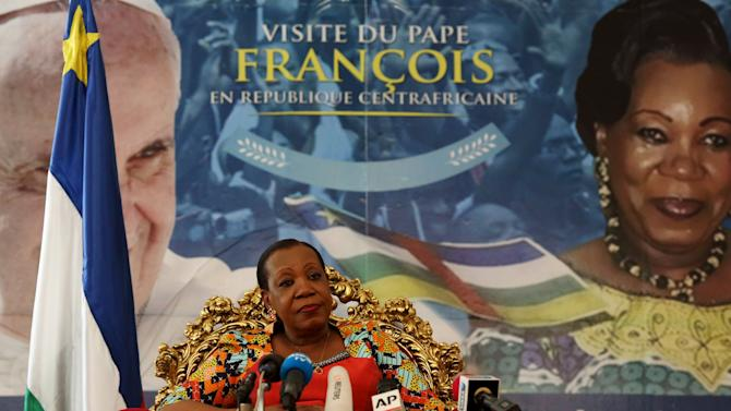The transitional president of the Central African Republic, Katherine Samba Panza listens to journalists' questions during a news conference at the presidential palace in Bangui, Central African Republic