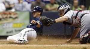 Aoki has two-run double, helps Brewers to win