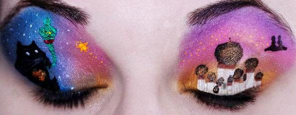 Artist creates Disney scenes on eyelids