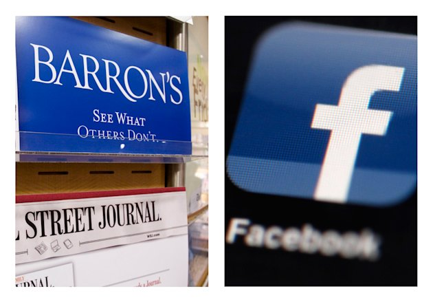 "This combination of Associated Press file photos, show advertising for the financial magazine Barron's on display in New York on July 23, 2007, and the Facebook logo on an iPad in Philadelphia on May 16, 2012. Facebook Inc.'s stock took a hit Monday, Sept. 24, 2012, after an article in Barron's said it is ""still too pricey"" despite a sharp decline since its initial public offering. (AP Photo/File)"