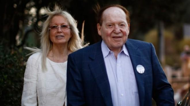 Sheldon Adelson and his wife, Miriam, leave Mitt Romney's foreign policy speech in Jerusalem on July 29, 2012.