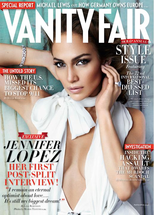 In this magazine cover image released by Vanity Fair, actress and singer Jennifer Lopez graces the cover of