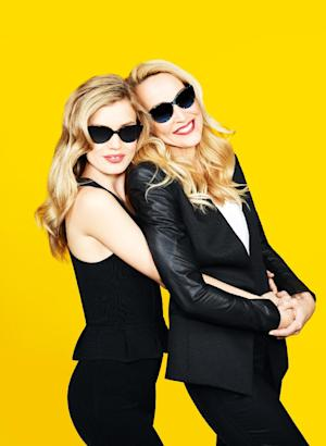 This undated promotional image released by Sunglass Hut shows mother-daughter models Georgia May Jagger, left, and Jerry Hall posing for a sunglasses ad. Together, they enjoy riding horses, spa days, gardening, cooking and reading the Sunday newspaper, especially their horoscopes. They share clothes now, too, and are starring in a campaign for Sunglass Hut, their first major joint modeling gig. (AP Photo/Sunglass Hut)