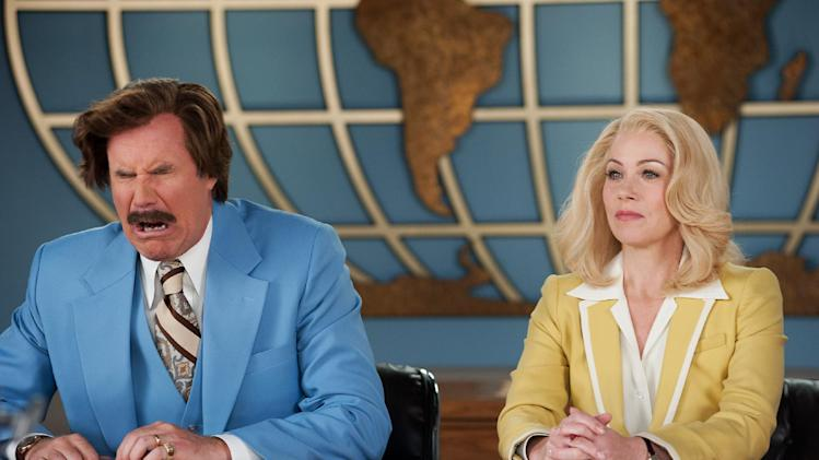 "This photo provided by Paramount Pictures shows Will Ferrell, left, as Ron Burgundy and Christina Applegate as Veronica Corningstone, in a scene from the film, ""Anchorman 2: The Legend Continues."" Paramount Pictures releases the film in the US on Dec. 18, 2013. (AP Photo/Paramount Pictures, Gemma LaMana)"