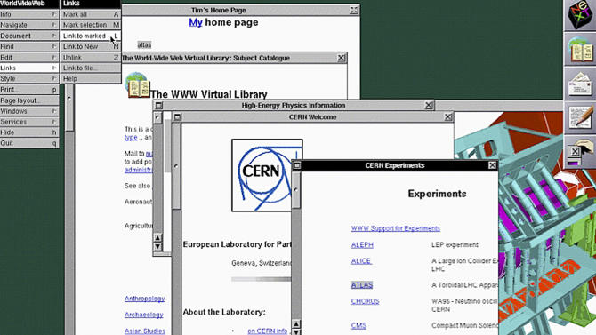 In this image provided by The European Organization for Nuclear Research, or CERN, a screenshot of the original NeXT web browser in 1993 is seen. The scientists at the European Organization for Nuclear Research, known by its French acronym CERN, are searching for the first Web page. It was at CERN that Tim Berners-Lee invented the Web in 1990 as an unsanctioned project, using a NeXT computer that Apple co-founder Steve Jobs designed in the late 80s during his 12-year exile from the company. (AP Photo/CERN)